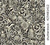 cartoon hand drawn nautical... | Shutterstock . vector #425481412