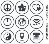 clock  wifi and stars icons.... | Shutterstock .eps vector #425485582