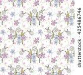 floral seamless pattern flowers ... | Shutterstock . vector #425486746