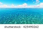 tropical sea sky clouds blue 3d ... | Shutterstock . vector #425490262