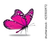 Stock photo beautiful pink monarch butterfly isolated on white background 425503972