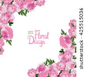 vector corner with peonies | Shutterstock .eps vector #425515036