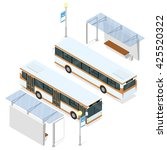 bus and bus shelter. both sides ... | Shutterstock .eps vector #425520322