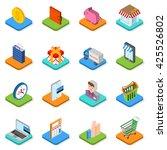 isometric shopping icon set. 3d ... | Shutterstock .eps vector #425526802