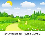 summer landscape with meadows... | Shutterstock .eps vector #425526952