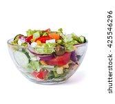 Greek Salad Closeup Isolated O...