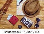 tourism concept. men's hat ... | Shutterstock . vector #425549416
