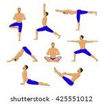 man doing yoga. yoga asanas.... | Shutterstock .eps vector #425551012
