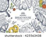bakery background. linear... | Shutterstock .eps vector #425563438