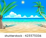 view on the beach. vector... | Shutterstock .eps vector #425575336