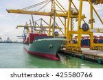 container ship berthing for... | Shutterstock . vector #425580766