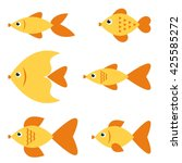 Set Of Golden Fishes. Raster...