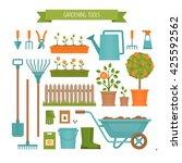 gardening. garden tools. flat... | Shutterstock .eps vector #425592562