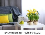 Blooming Narcissus Flowers And...