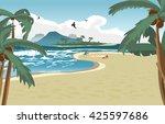 sea landscape summer beach ... | Shutterstock .eps vector #425597686
