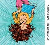 beautiful upside down girl... | Shutterstock .eps vector #425600092