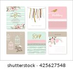 set of wedding invitation cards | Shutterstock .eps vector #425627548