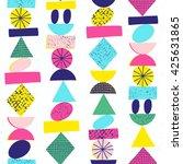 funny geometric seamless... | Shutterstock .eps vector #425631865
