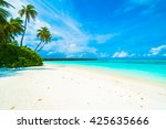 beautiful tropical beach and... | Shutterstock . vector #425635666