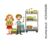 girls and boy with gardening... | Shutterstock .eps vector #425640688