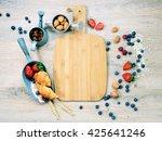 healthy breakfast of muesli ... | Shutterstock . vector #425641246