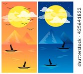 Sunset And Night Vector