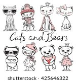cute hand drawn cats and bears | Shutterstock .eps vector #425646322