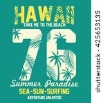hawaii typography with palms... | Shutterstock .eps vector #425653135