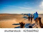 Camels Caravan Going In Sahara...