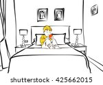 hotel room with cute boy on bed ... | Shutterstock .eps vector #425662015