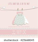 Baby Girl Shower Card  Vector...