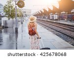 Travel By Train  Woman With...