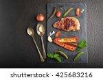 grilled  pork steak with... | Shutterstock . vector #425683216
