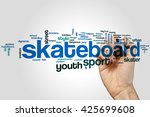 skateboard word cloud concept | Shutterstock . vector #425699608