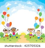children are jumping ob summer... | Shutterstock .eps vector #425705326