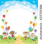 children are jumping ob summer... | Shutterstock .eps vector #425705386