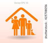 family with a pet vector... | Shutterstock .eps vector #425708056