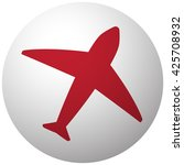 red airplane icon on white ball | Shutterstock .eps vector #425708932