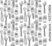 flowers  pots  vases seamless... | Shutterstock .eps vector #425714806