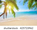 palm and tropical beach | Shutterstock . vector #425723962