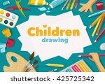 children drawing  white... | Shutterstock .eps vector #425725342