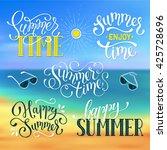happy summer lettering design.... | Shutterstock .eps vector #425728696