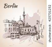 hand drawn berlin street with... | Shutterstock .eps vector #425731252