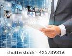 businessman working on virtual... | Shutterstock . vector #425739316