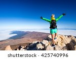 woman successful hiking... | Shutterstock . vector #425740996