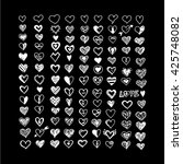 hearts icon set. hand drawn... | Shutterstock .eps vector #425748082