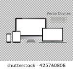 set of realistic computer... | Shutterstock .eps vector #425760808