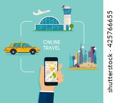booking online flights and taxi ... | Shutterstock .eps vector #425766655
