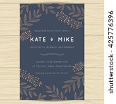 Stock vector save the date wedding invitation card template with copper color flower floral background vector 425776396