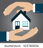 hands protecting house ... | Shutterstock .eps vector #425783056